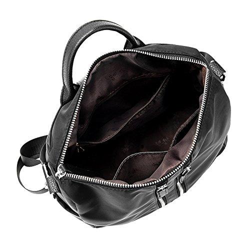 WTUS Mujer mochila de viaje Bolsas de moda color puro nylon de Oxford para Mujer negro