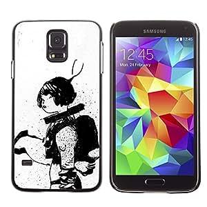 Shell-Star Arte & diseño plástico duro Fundas Cover Cubre Hard Case Cover para SAMSUNG Galaxy S5 V / i9600 / SM-G900F / SM-G900M / SM-G900A / SM-G900T / SM-G900W8 ( Astronaut Sketch Black White Woman )