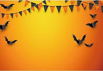Amazon Com Yongfoto 5x3ft Happy Halloween Background Black Bat Flags Yellow Wall Photography Backdrop Halloween Party Banner Baby Shower Child Kids Adult Portrait Home Decor Photo Studio Props Wallpaper Camera