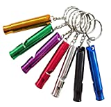 Tmrow 10Pcs Assorted Color Aluminum Loud Safety Survival Whistle Keyring Keychain
