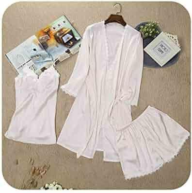 e35efdb3f5 Women Pyjamas Lace Sexy Sleepwear Female Summer Satin Pajamas for Women