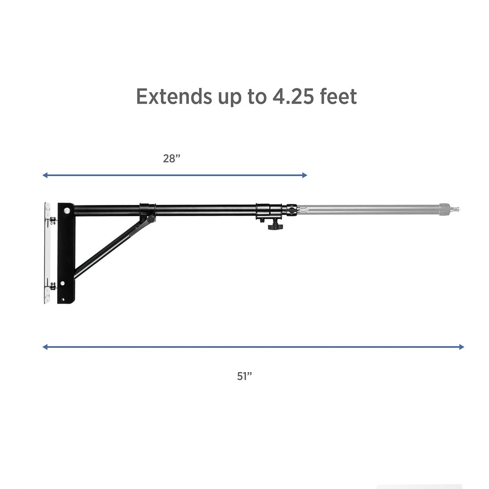 Fovitec - 1x Photography & Video Extending Wall Mounting Boom Arm - [Matte Black][Steel Construction][Heavy-Duty][Ergonomic Knobs][Bolts Included] by Fovitec (Image #6)