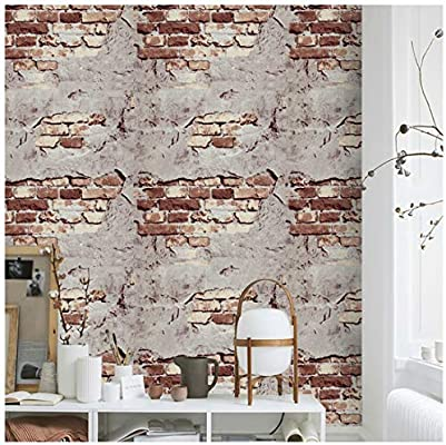 Brick Wallpaper Peel And Stick Wallpaper 17 7 X 118 Washred Gray Stone Wallpaper Self Adhesive For Kitchen Countertop Table Easy To Clean Buy Online At Best Price In Uae Amazon Ae