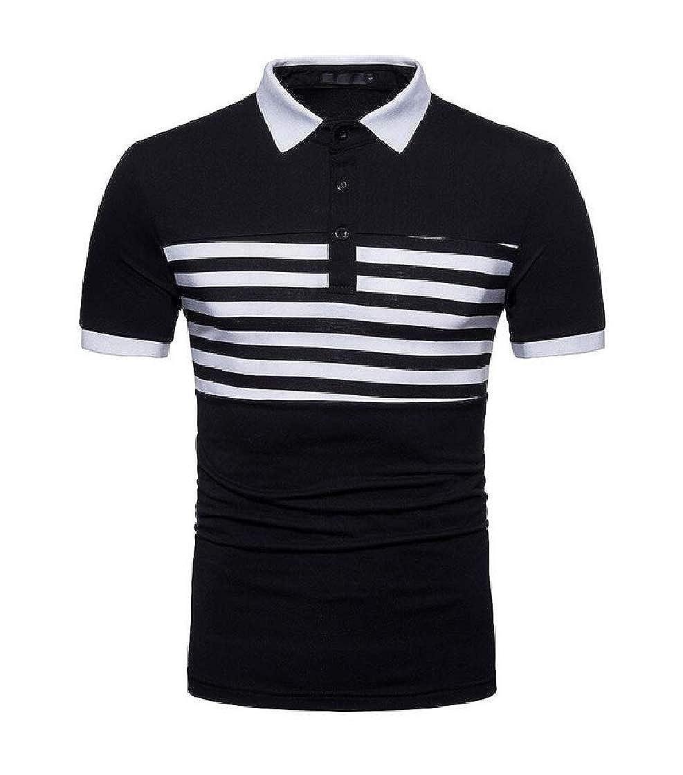 Etecredpow Men Short Sleeve Tee Cotton Polo Stripe Top T-Shirts