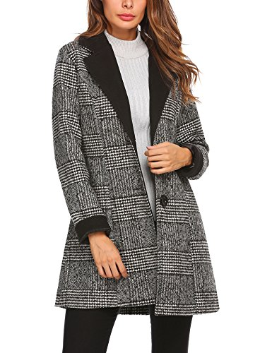ACEVOG Women's Single Breasted Long Coat Wool Blended Plaid Winter Coat Black Small (Coat Winter Plaid)