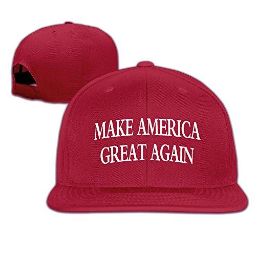 2016 Adult Costumes (Unisex Make America Great Again Red Flat Bill Hat Baseball Cap)