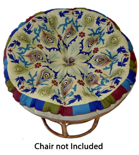 Cotton Craft Papasan Peacock Sage - Overstuffed Chair Cushion, Sink into our Thick Comfortable and Oversized Papasan, Pure 100% Cotton duck fabric, Fits Standard 45 inch round Chair (1 Pier Patio Cushions Furniture)