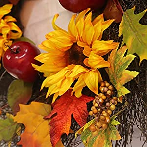 """Decorative Leaves & Berries 17"""" Fall Sunflower Maple Leaf Harvest Wreath, Autumn Colors Enhance Home Decor, for Front Door or Indoor Wall Décor to Celebrate The Thanksgiving & Fall Season 3"""