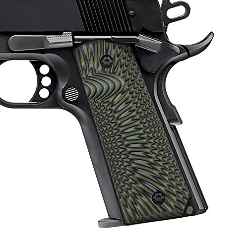 Cool Hand 1911 Full Size G10 Grips, Free Screws Included, Mag Release, Ambi Safety Cut, Sunburst Texture, Brand, Phoenix Feather Tan/Green