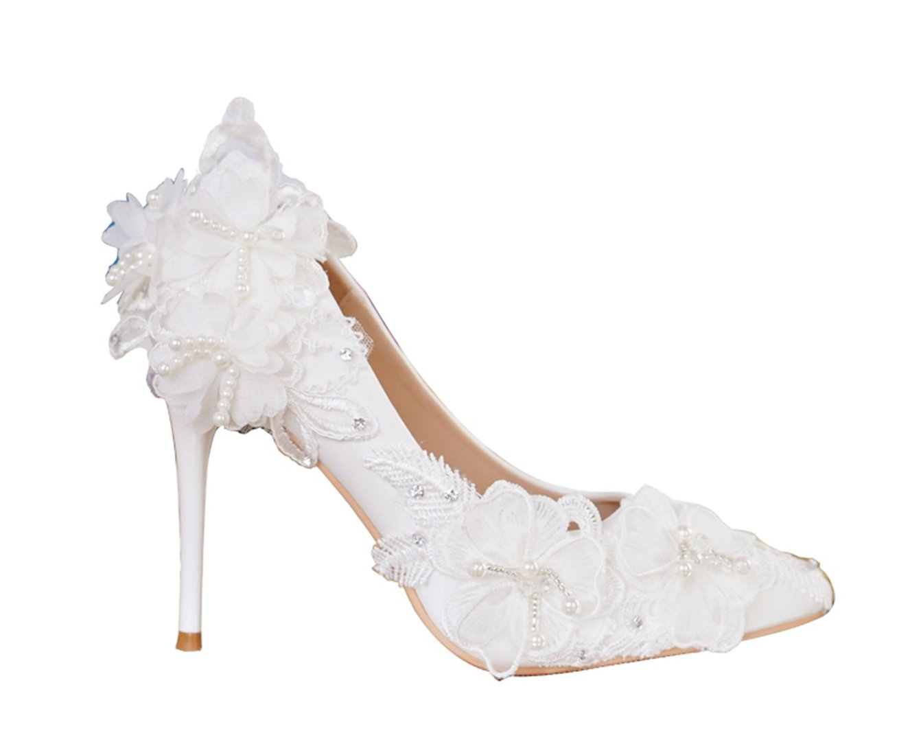 Minishion Women's Flowers Jewelry Stiletto White Satin Bridal Wedding Formal Party Shoes US 5.5