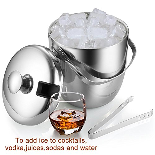 Insulated Ice Bucket,Stainless Steel Double Wall Ice Bucket with Lid and Tongs,2.8-Litre,Silver by Fortune Candy (Image #5)'