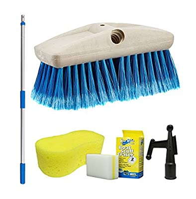 Star brite Boaters Combo Set - Boat Brush, Boat Hook, Telescoping Handle, 2 Pk Boat Scuff Eraser & Giant Sponge