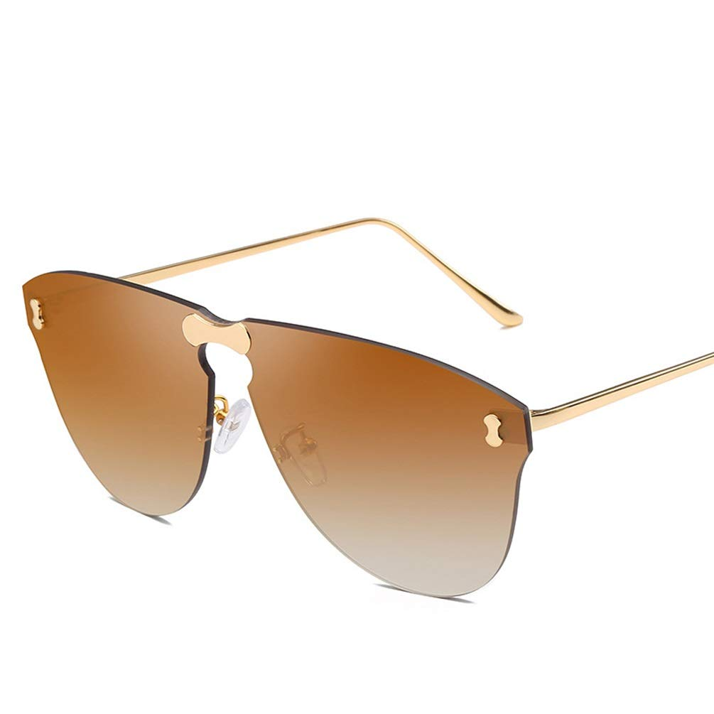 E Europe and The United States Trend Frameless Sunglasses Fashion OnePiece Lens Unisex Street Flash Sunglasses (color   D)