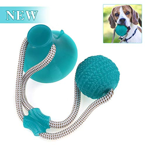 CHARMINER Pet Molar Bite Toy, Multifunction Molar Chew Toy, Durable Self-Playing Rubber Rope Ball Toy with Suction Cup for Tugging, Pulling, Chewing, Playing(Green)