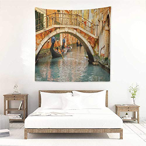 (Willsd Venice Wall Tapestry for Bedroom Ancient Bridge and Traditional Gondola Canals of Famous Touristic City Home Decorations for Bedroom Dorm Decor 55W x 55L INCH Orange Ivory Bluegrey)