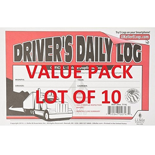 (LOT OF 10 JJ KELLER 601L Driver's Daily Log Book W/ Vehicle Inspection Carbon)
