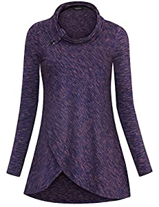 Laksmi Womens Long Sleeve Shirts Cowl Neck Crossover Hem Buttons Decor Loose Tunic Tops