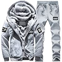 Sun Lorence Men's Thicken Fleece 2 Piece Hoodie Sweat Suit Full Zipper Tracksuit Set