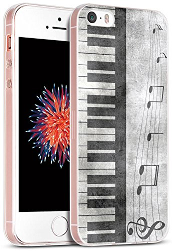 Case for Phone SE Music/IWONE Designer Non Slip Rubber Durable Protective Skin Transparent Cover Shockproof Compatible with iPhone 5/5S/SE + Retro Musical Piano Music Note Design ()