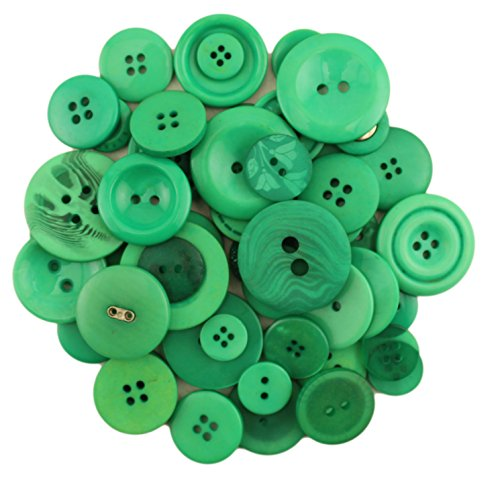 Buttons Galore BIG BAG OF COLORFUL CRAFT & SEWING BUTTONS 5.5 OZ (APPROX 225 PCS) KELLY GREEN