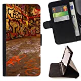 Momo Phone Case / Wallet Leather Case Cover With Card Slots - Grafiti Street Art Wall Neon Drawing Letters - LG G2 D800
