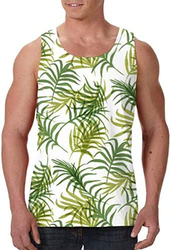 Tropical Leaves Patterned Mens Polyester Sleeveless Shirt for Home Travel Fitness Workout Sports Premium Tank Tops Soft and Stylish Top Sleeveless TShirt