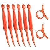 SS SHOVAN Orange Citrus Peeler, Kitchen Tool Safe Plastic Easy Fruit Slicer Cutter Peeler, 6+2 Pack
