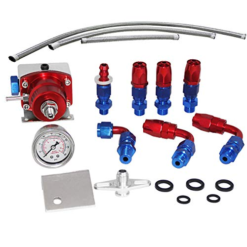 Adjustable Fuel Pressure Regulator Kit With 100 psi Gage & AN6 Hose Fitting,Blue & Red