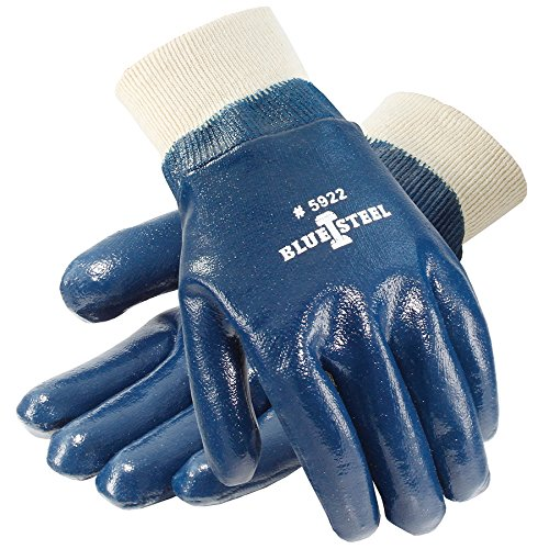 Galeton 5922-L Blue Steel Nitrile Coated Gloves Smooth Finish, Knit Wrist, Large, Blue (Pack of 12)