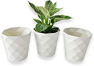 BFA Diamond pots - 3 Pack Diamond Pattern Design Home Decoration, Indoor Outdoor Planter, White Plastic Planter
