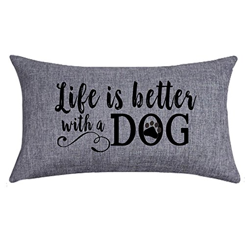 NIDITW Nice Gift with Inspirational Words Life is Better with A Dog Waist Lumbar Throw Pillow case Cushion Cover Pillowcase for Sofa Home Decorative Rectangle