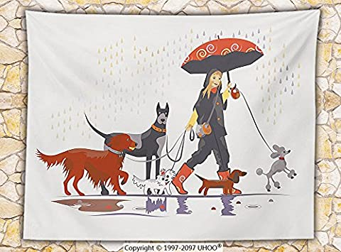 Dog Lover Decor Fleece Throw Blanket Young Modern Girl Taking Pack of Dog for a Walk in the Rain Fun Joyful Times Artsy Print - Magenta Twin Pack
