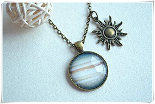 (Jupiter Necklace Pendant, Charm Planet Jupiter Space Necklace Pendant,Personalized Gift,Dome Glass Ornaments, Pure Handmade)