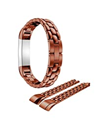 Watch Band, ABC Luxury Genuine Stainless Steel Wrist strap Watch Band for Fitbit Alta Tracker (Coffee)
