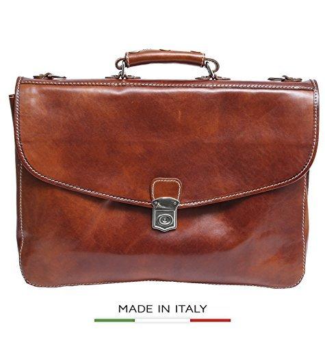 Leather Triple Gusset Flap - Alberto Bellucci Italian Leather Large Flap Lock Triple Compartment 17
