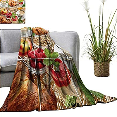 "homehot Kitchen Super Soft BlanketsBreakfast with Coffee Croissants Orange Juice Fresh Strawberry Yogurt Oatmeal Photo Traveling,Hiking,Camping,Full Queen,TV,Cabin 40"" Wx60 L Multicolor"