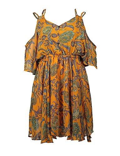 da formale Dress nbsp;Stampa SHAUIGUO nbsp;– chiffon da floreale stile sera M con abito borchie vintage donna wTdqPdIOR