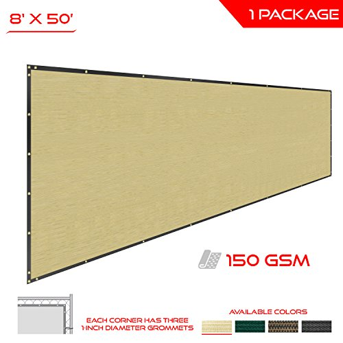 The Patio Shop Privacy Fence Screen 8' x 50' Commercial Outdoor Shade Windscreen Mesh Fabric with brass Gromment 150 GSM 88% Blockage in color Beige-2 Years Warranty by The Patio Shop