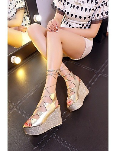 ShangYi Damens's Schuhes Schuhes Schuhes Patent Leder Wedge Heel Wedges / Platform / Slingback / Gladiator / Comfort / Novelty / Ankle Strap / golden 748276