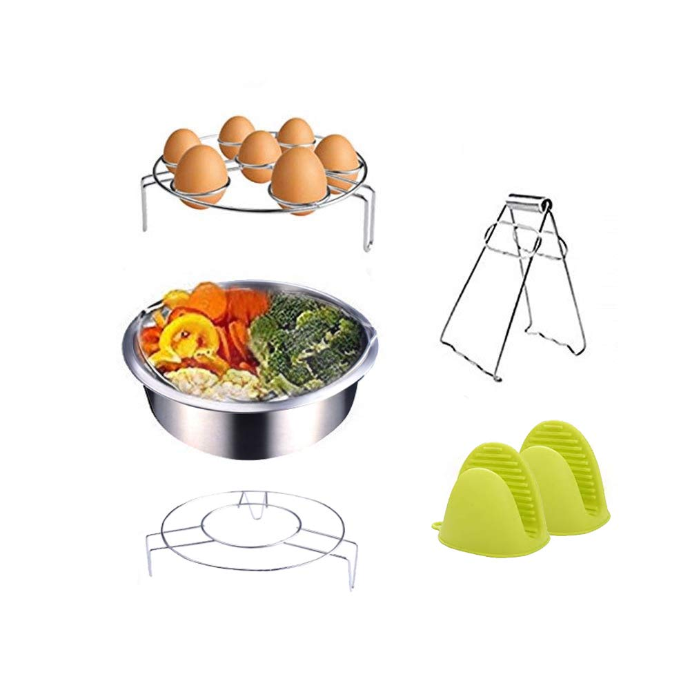 Instant Pot Accessories Steamer Basket Rack Set Includes Egg Steamer Rack Trivet, Steamer Rack, Bowl Dish Clip and 1 Pair Silicone Mitts Fits Instant Pot 5,6,8 quart Pressure Cooker,5 Pcs Set WEYON