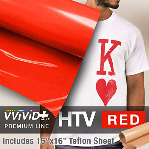 VVIVID+ Red Premium Line Heat Transfer Vinyl Film for Cricut, Silhouette & Cameo (12'' x 1800'' (150ft) w/teflon sheet) by VViViD