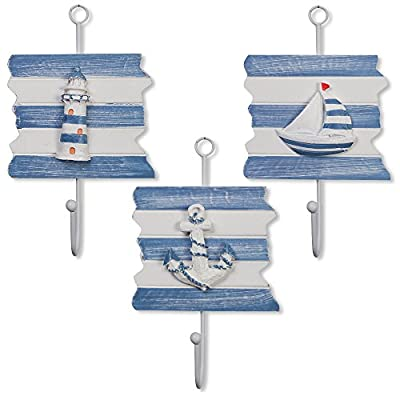 Set of 3 Nautical Beach Wooden Hanging Wall Art Hooks Lighthouse Sailboat and Anchor For Home Kitchen Bedroom Bathroom Nursery Classroom Office Outdoor Garden Yard Patio and Lawn Coastal Theme Decor
