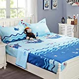 nautical bedding full size - Brandream Soft Blue Nautical Bedding Set For Kids Teen Boys Bed Sheet Set 100% Cotton Sheets Set Deep Pocket 18 Inch Fitted Sheet Sets-Full Size