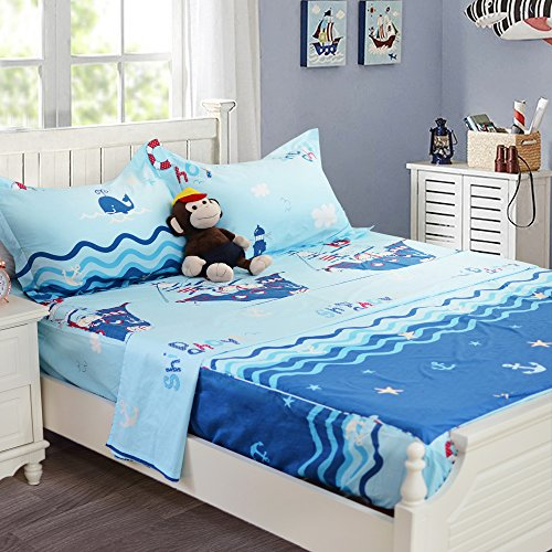 Brandream Soft Blue Nautical Bedding Set For Kids Teen Boys Bed Sheet Set 100% Cotton Sheets Set Deep Pocket 18 Inch Fitted Sheet Sets-Full Size