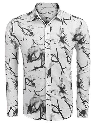 COOFANDY Men's Plaid Button Down Shirt Short Sleeve Slim Fit Casual Patchwork Contrast Color Camo Dress ()