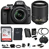 Nikon D3300 DSLR Camera (Black) with 2 Lenses: 18-55 and 55-200MM VR Lens + Tiffen Filters + Battery and charger and 32GB Accessory Kit