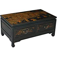 EXP Handmade Oriental Furniture 36-inch Antique Style Coffee Table, Black