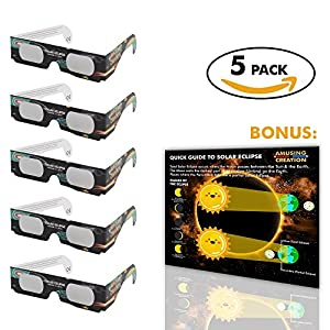 Solar Eclipse Glasses (5 Pack) | Safety Glass CE Certified Eclipse Viewing Glasses 2017 | Shade 14 Welding Protection For The Family | Glasses To View The Solar Eclipse | Bonus Eclipse Poster |