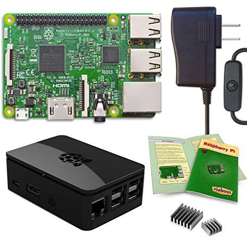 Media Center Kit - Viaboot Raspberry Pi 3 Power Kit — UL Listed 2.5A Power Supply, Premium Black Case Edition