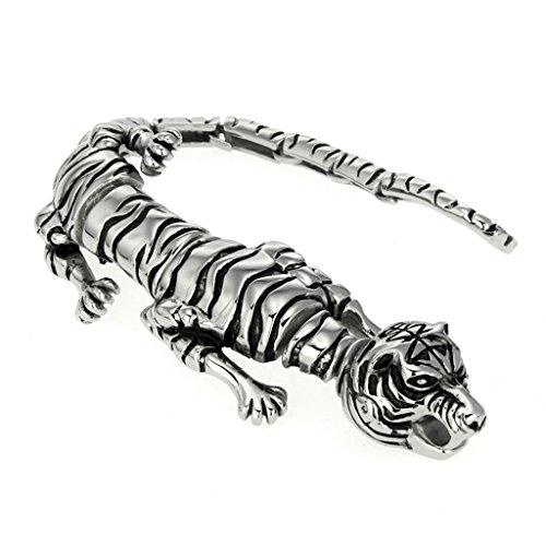 Jdz Amulettes le Tigre Animal type épais Mode Titanium Bracelet en acier Argent poli